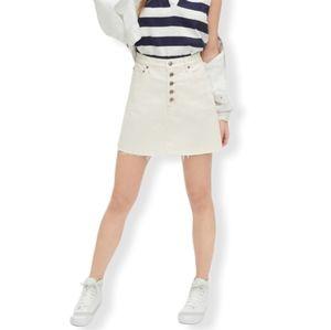 Gap White high rise button front Denim mini Skirt